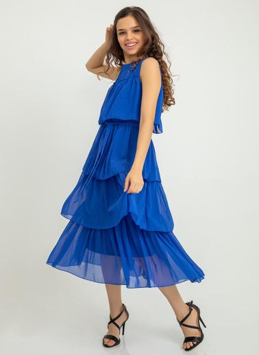 Foremia Kolsuz Katlı Pilise Elbise Saks
